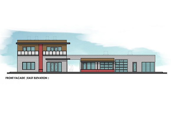 This drawing shows front façade of new building being developed in Seminole Heights by Greg Barnhill. The building on the right will house Twisted Sun Rum Distillery. On the left, or southernmost part of the property, The Wine Bar Seminole Heights wi