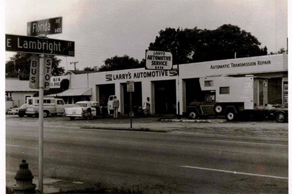 The former home of Larry Jackson Automotive, shown in this 1975 photograph, will soon give way to a new wine bar and craft rum distillery at 6430 N. Florida Ave. in Seminole Heights.