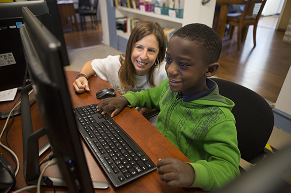Caleb Darby, 6, and Jennifer Sunshine, Executive Director of Family Promise of Pinellas County.