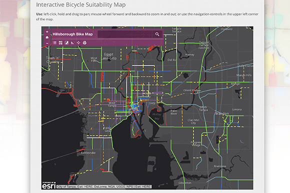 Interactive Bicycle Suitability Map available at www.planhillsborough.org