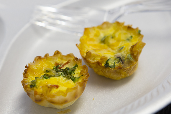 Mini quiche made with vegetables from the Harvest Hope Garden.