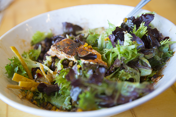 Rubio's Chipotle Orange Salad with salmon.
