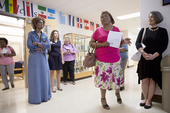 Margaret Claritt leads a tour through Wimauma Elementary School.