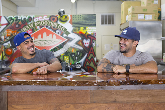 (L-R) James Rue and Gian Carlos Birriel co-own Raw Smoothie Co.