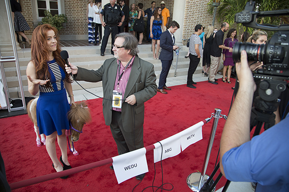 Castille Landon and miniature horse Apple on the red carpet at the Sunscreen Film Fest in St. Pete.