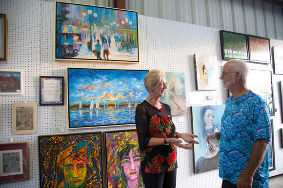 Artist Katra Peck and her husband Robert at the Arts XChange during the Second Saturday Art Walk.