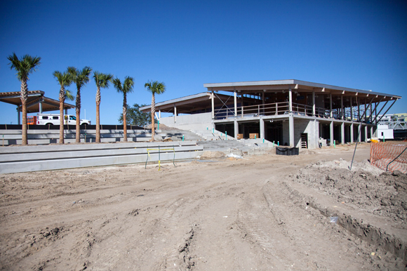 Stadium steps and boat storage are a few amenities at the future River Center.