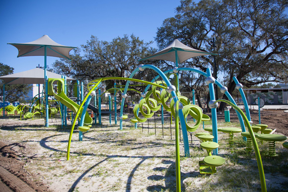 A modern playground underway at Julian B. Lane Riverfront Park in West Tampa.