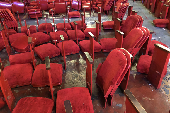 Red chairs were removed to restore Tampa Theatre to original color scheme.