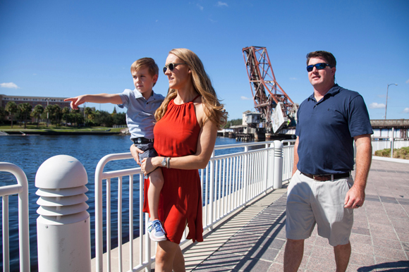 The Durkin's walk along the Tampa Riverwalk downtown.