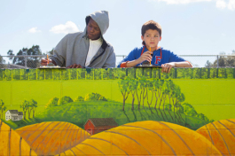 Students learn about agriculture via large scale art at Greco Middle School.