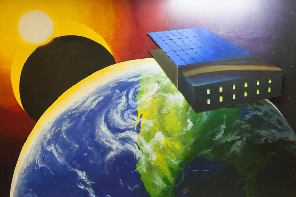 An entrance mural for Miles Space which develops technology for outer space.