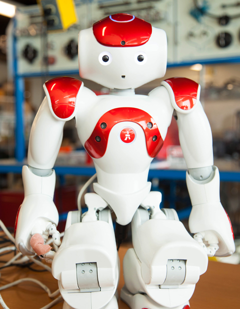 A humanoid is used to teach ways robots can help humans in daily life at HCC.