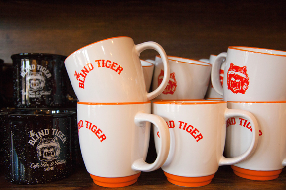 Mugs at the speakeasy inspired coffee shop, Blind Tiger in Ybor.