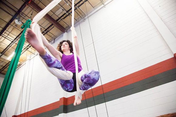 Mikah Cuevas rehearses aerial yoga at The Keep Yoga and Circus Arts in Ybor.