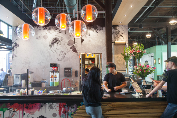 Zukku Sushi offers rolls, sushi burritos, and poke bowls at Armature Works Heights Public Market.