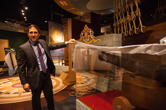 Manny Leto shows an 18th century iron cannon salvaged from a shipwreck in 2000 ft deep waters.