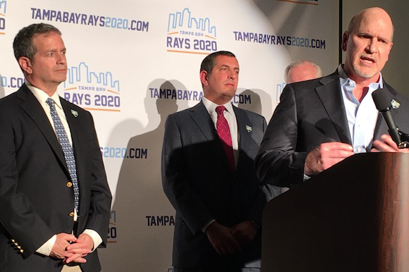 Rays Owner Stu Sternberg, Ron Christaldi, and Chuck Sykes get behind the move to Tampa.