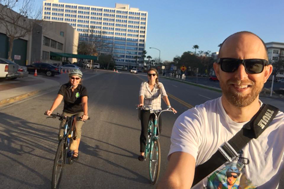 Tampa bicycle commuters Karen Kress, Alana Brasier, and Justin Willits.