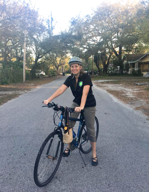 Karen Kress of the Tampa Downtown Partnership commutes to work by bicycle.