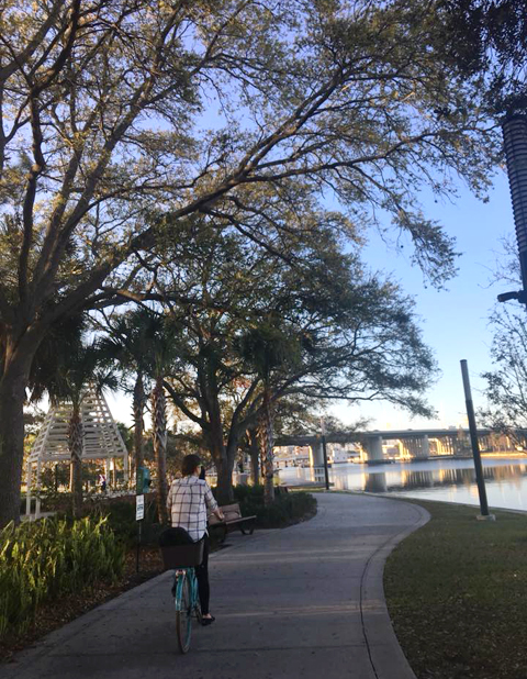 Bicycling along the Tampa Riverwalk.