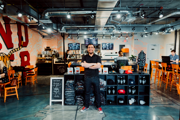 Owner Roberto Torres at the Blind Tiger Coffee Roasters in SoHo.