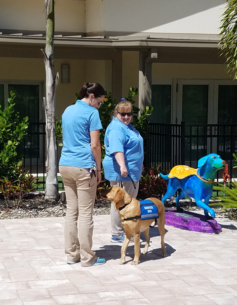 Laska Parrow, Kim Hyde, and Ponce, show a service dog maneuver for keeping a stranger from getting too close to their companion.