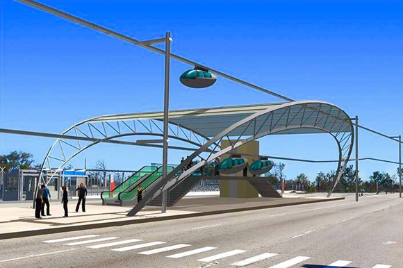 Aerial Personal Rapid Transit (APRT) Station rendering in Clearwater.
