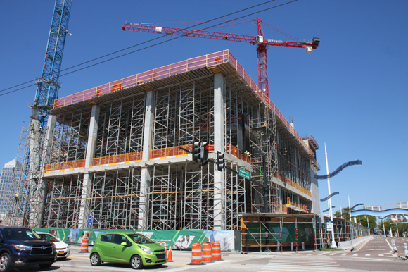 USF's new building rises a short distance from Channelside.