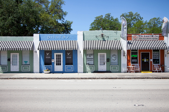 Colorful local businesses in West Tampa near JCC.