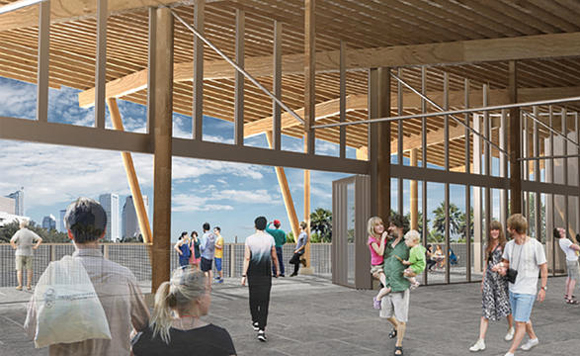 River Center rendering at Julian B. Lane Riverfront Park.