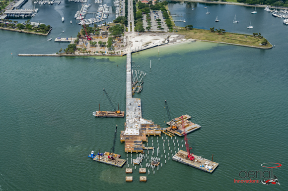 The St. Pete Pier under construction.