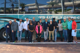The group before they depart downtown Tampa aboard the StartupBus