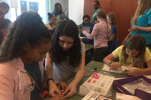Jabil partners with the Girl Scouts for a STEM Camp.