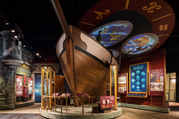 The centerpiece of the History Center's new gallery is a replica of an 18th century sloop.