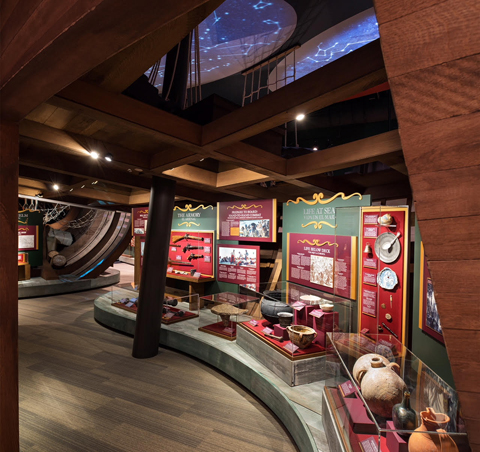 Guests can wander below deck to see a collection of shipwreck artifacts from the 18th century.