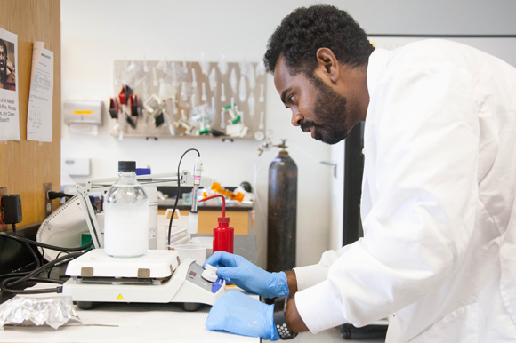 Justin Nichols, a student at USF, collects protein for malaria vaccination studies.