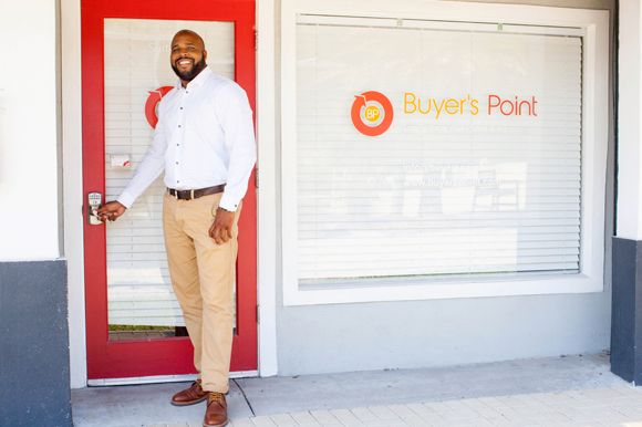 Ben Walker, owner of Buyer's Point at his office at THAP 5508, a co-working exchange.