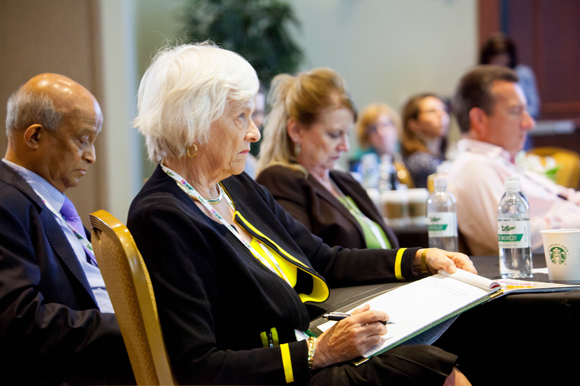 Karen Holbrook, Regional Chancellor for USF Sarasota-Manatee, listens in at the summit.