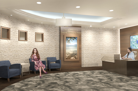 Rendering of the future Women's Center reception area.