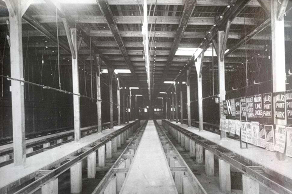 The car barn shows the maintenance trench that allowed workers to access to the underside of the streetcars in the building that now is Armature Works.