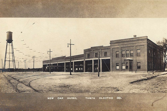 1912 postcard advertising the opening of the new Tampa Electric Company streetcar barn, which is now Armature Works.