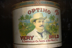 Santaella cigar tin - Optimo brand - featuring an image of Antonio Santaella.