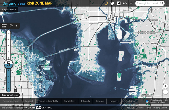 Surging Seas Risk Zone Map of Tampa Bay.
