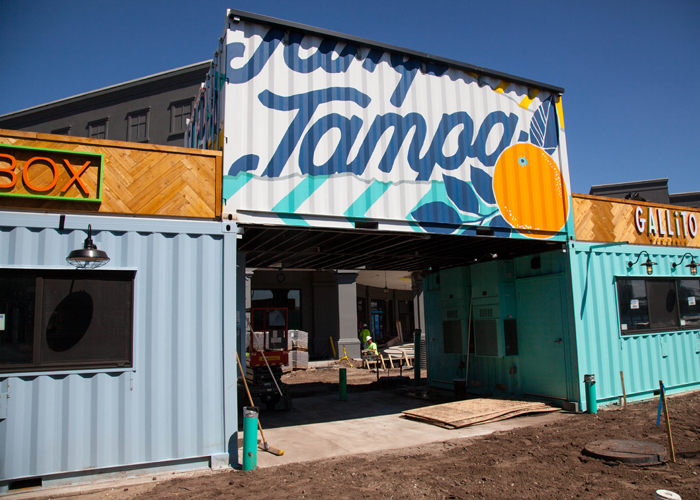 New take-out dining in repurposed shipping containers in the Channel District.