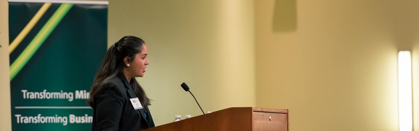 Nandini Agarwall speaks at Muma College of Business Scholarship Lunch. <span class='image-credits'>Courtesy of USF Muma College of Business</span>