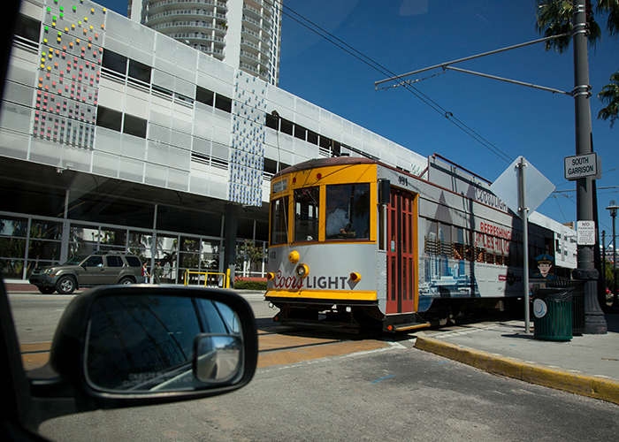 A trolley heads from the Channelside District to Ybor.