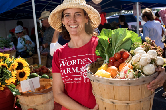 Eva Worden of Worden Farm at the Saturday Morning Market in St Pete.