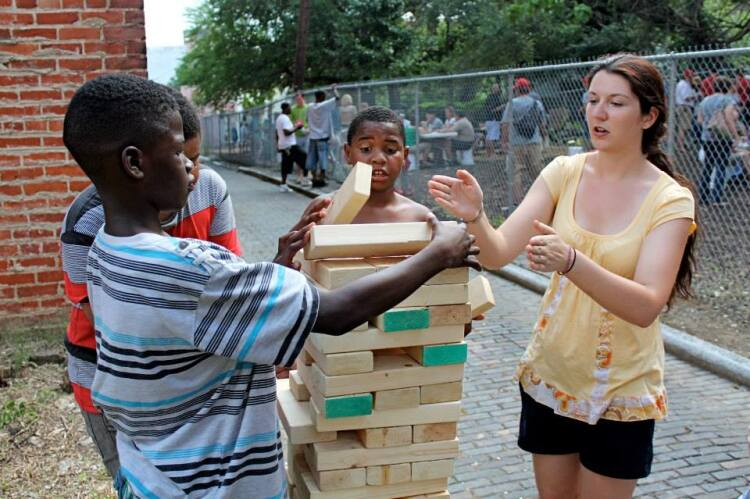 Big game of Jenga in Five Points Alley