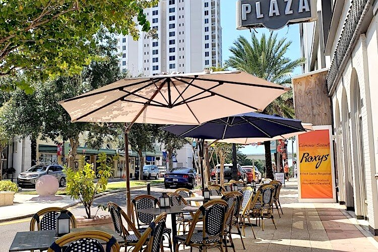 Outdoor seating like what you can near Roxy's is creating a sense of place.